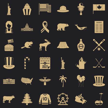 American holiday icons set. Simple set of 36 american holiday vector icons for web for any design