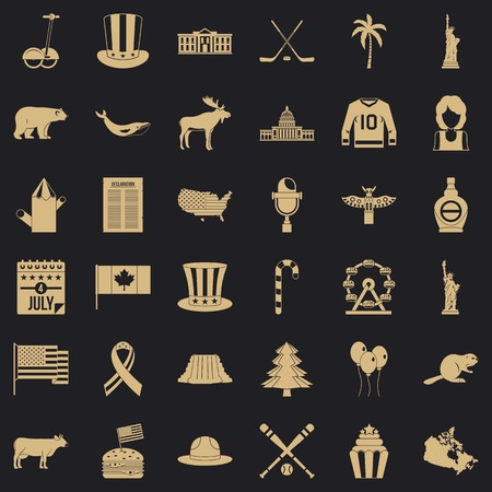 American adventure icons set. Simple set of 36 american adventure vector icons for web for any design Иллюстрация