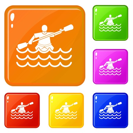 Male athlete in a canoe icons set collection vector 6 color isolated on white background