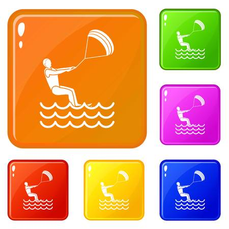 Man takes part at kitesurfing icons set collection vector 6 color isolated on white background Illustration