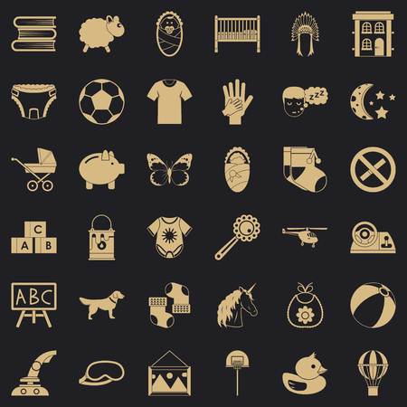 Establishment icons set, simple style