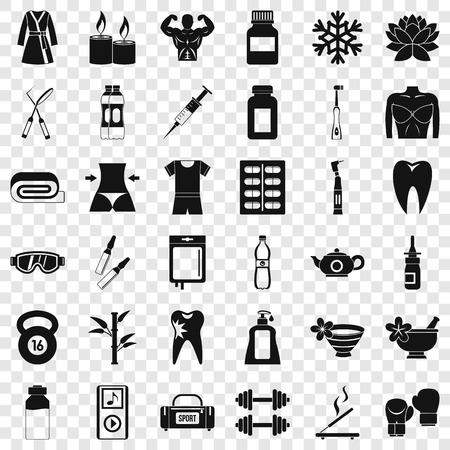 Activity icons set, simle style