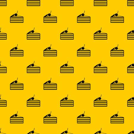 Cake with cherries pattern seamless vector repeat geometric yellow for any design