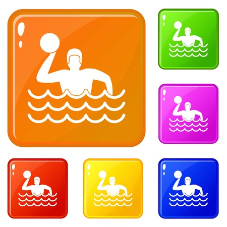 Water polo icons set collection vector 6 color isolated on white background