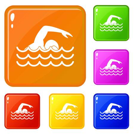 Swimmer icons set collection vector 6 color isolated on white background
