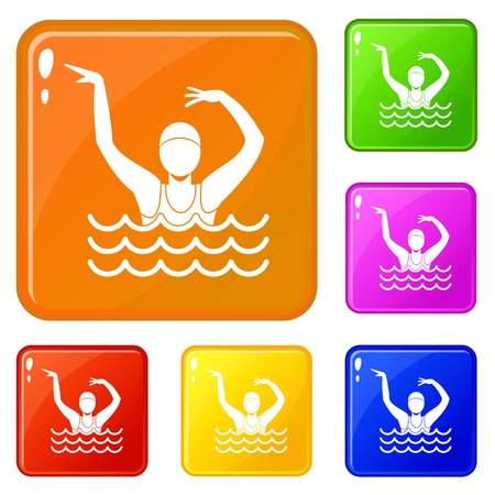 Swimmer in a swimming pool icons set collection vector 6 color isolated on white background Stock Illustratie