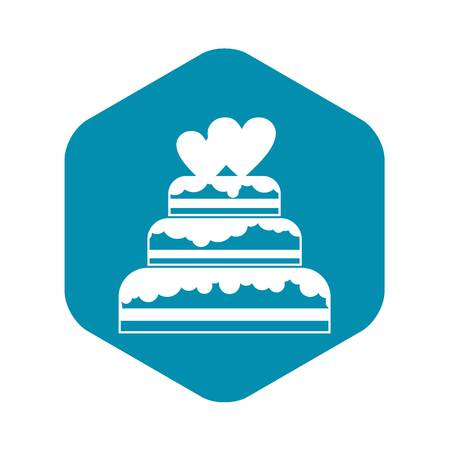 Wedding cake in simple style isolated on white background vector illustration