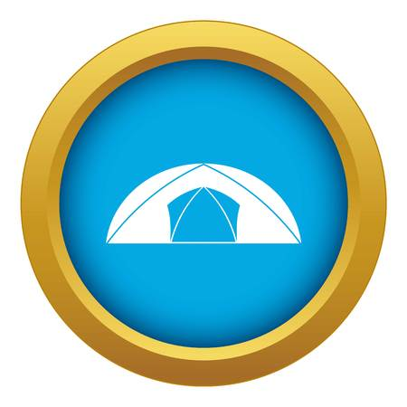 Dome tent for camping icon blue vector isolated on white background for any design