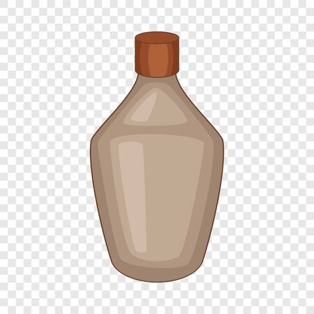 Brown bottle icon, cartoon style