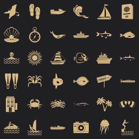 Oceanographic icons set, simple style Archivio Fotografico - 124534424