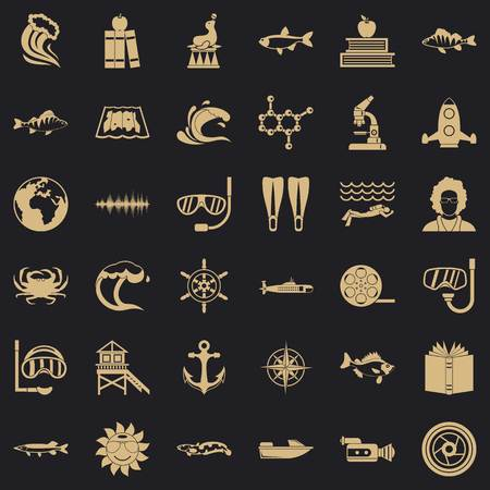 Oceanologist icons set. Simple set of 36 oceanologist vector icons for web for any design