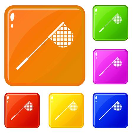 Fishing net icons set collection vector 6 color isolated on white background Illustration