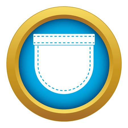 Shirt pocket icon blue vector isolated on white background for any design