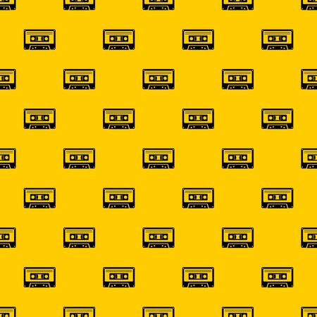 Cassette tape pattern seamless vector repeat geometric yellow for any design 矢量图像