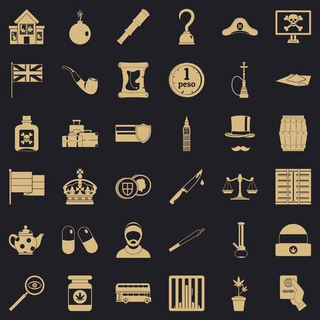 Offence icons set, simple style Standard-Bild - 124535746