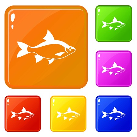 River fish icons set vector color Illustration