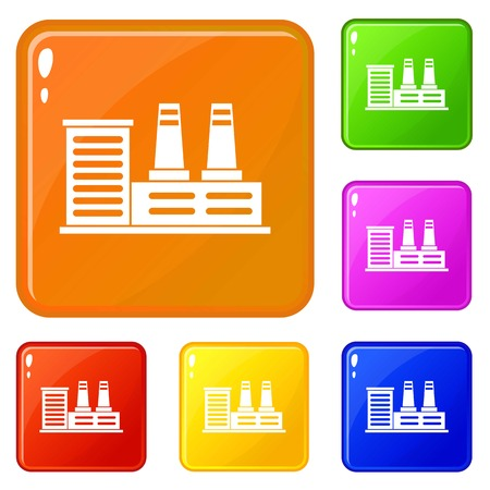 Power plant icons set vector color