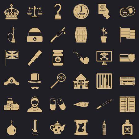 Insult icons set, simple style Standard-Bild - 124535994