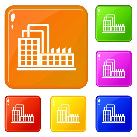 Factory building icons set vector color