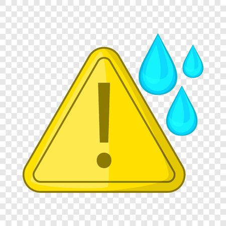 Warning sign and drops icon, cartoon style Çizim