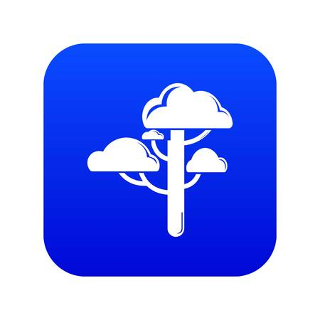 Cloud tree icon blue vector isolated on white background