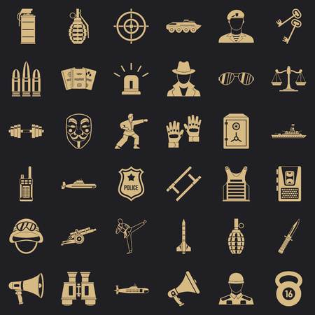 Officer icons set. Simple set of 36 officer vector icons for web for any design