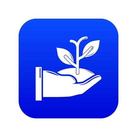 Hand sprout icon blue vector isolated on white background