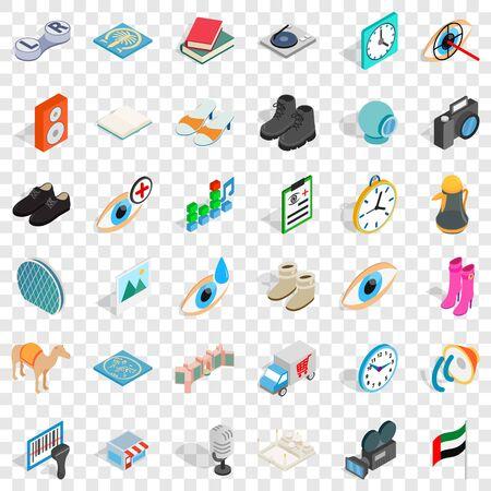 Many dollar icons set, isometric style Stock Illustratie