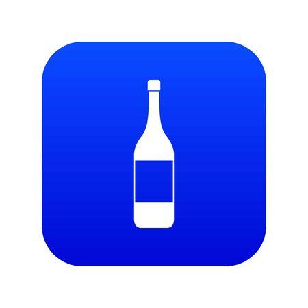 Wine bottle icon digital blue