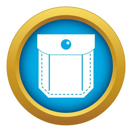 Pocket with valve and button icon blue vector isolated on white background for any design