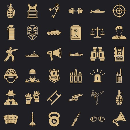 Militia officer icons set, simple style Standard-Bild - 124536483