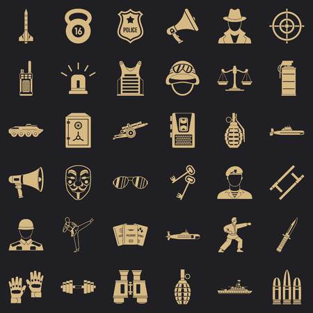 Police officer icons set, simple style Standard-Bild - 124536484