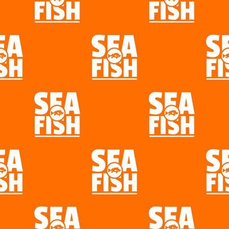 Sea fish shop pattern vector orange