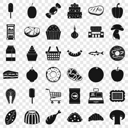 Food shopping icons set, simple style Vettoriali