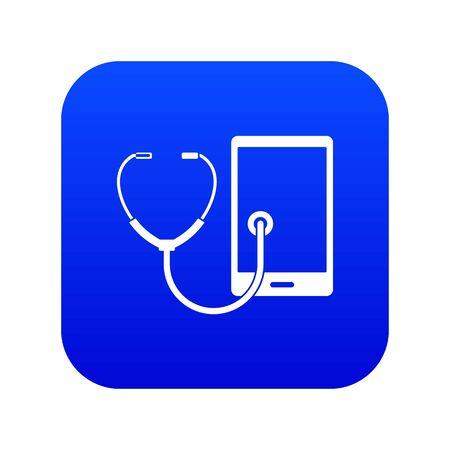 Phone diagnosis icon digital blue Illustration