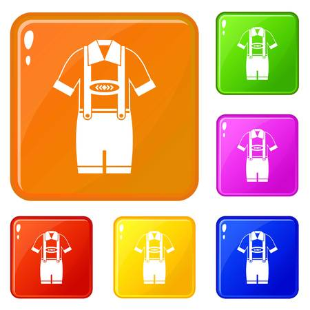 T-shirt and pants with suspenders icons set collection vector 6 color isolated on white background