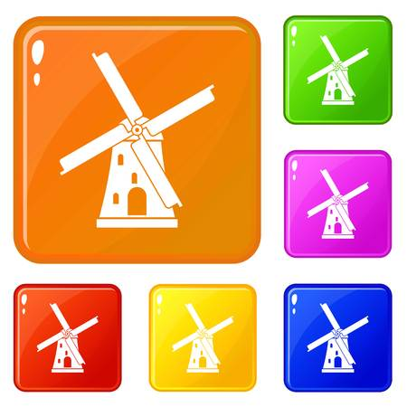Ancient windmill icons set collection vector 6 color isolated on white background