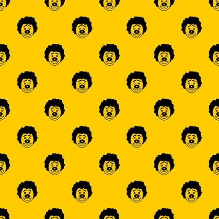 Clown head pattern seamless vector repeat geometric yellow for any design  イラスト・ベクター素材