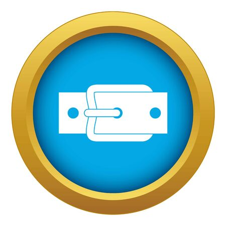 Metal belt buckle icon blue vector isolated on white background for any design Çizim