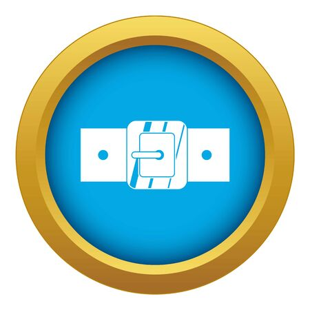 Square belt buckle icon blue vector isolated on white background for any design