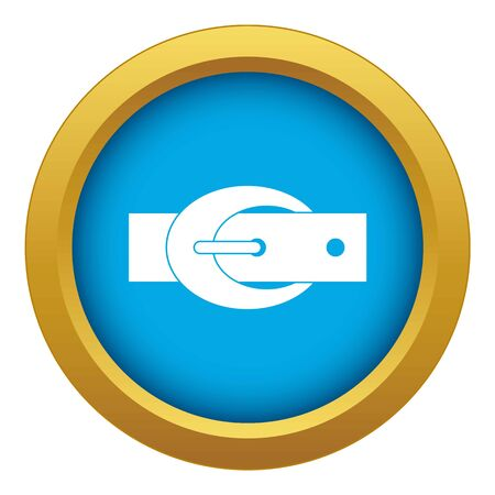 Oval belt buckle icon blue vector isolated