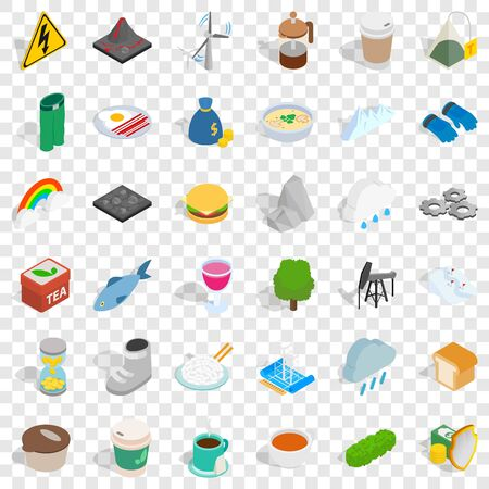 Mountain icons set, isometric style Ilustrace