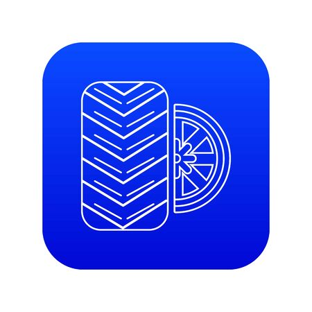 Tire icon blue vector isolated on white background