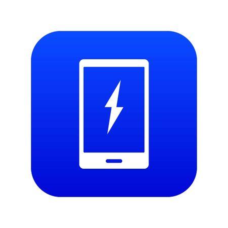 Warning phone icon digital blue Illustration