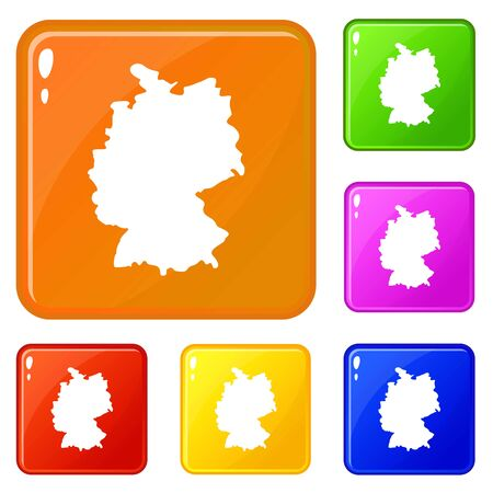 Map of Germany icons set vector color