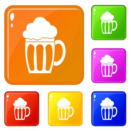 Beer icons set vector color