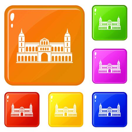 Castle icons set vector color