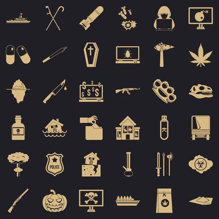 Tyranny icons set, simple style Ilustração