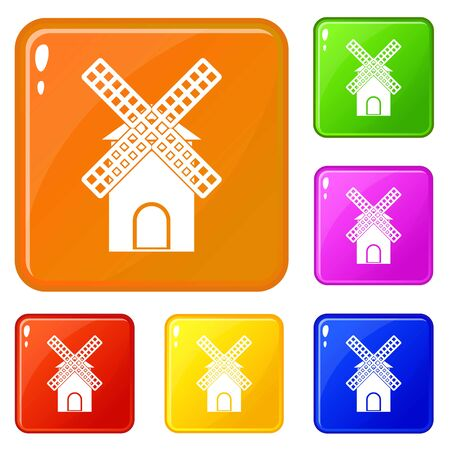 Mill icons set collection vector 6 color isolated on white background