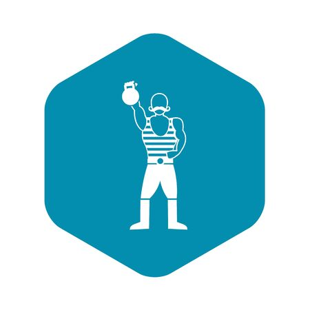Strong man with kettlebell icon, simple style